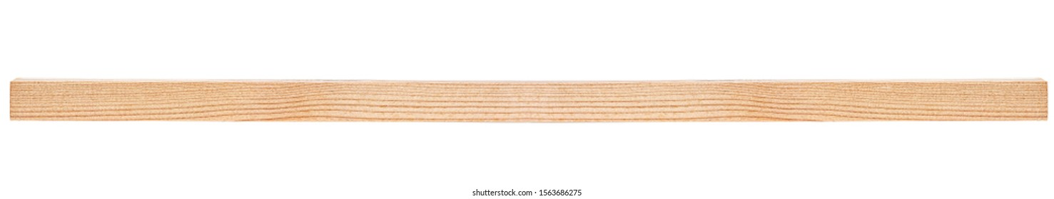 Wooden beam isolated on white background. Pine wooden bar.
