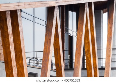Wooden beams supporting columns