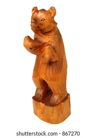 Wooden bear. Russian souvenir, carved wood, white background (isolated)