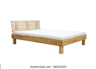wooden bed on white background