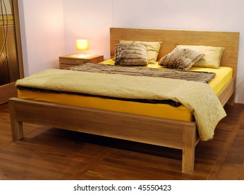 wooden bed and wool
