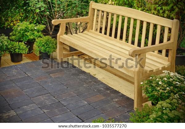 https www shutterstock com image photo wooden bench backyard summer garden modern 1035577270