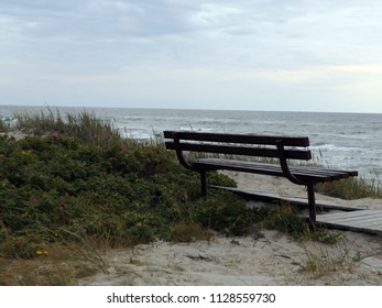 Wooden bench at the beach in Nida, Lithuania