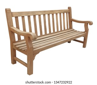 Wooden bench brown isolated on white background