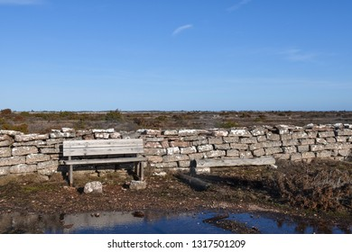 Wooden bench by a stone wall in a great plain landscape at the swedish island Oland