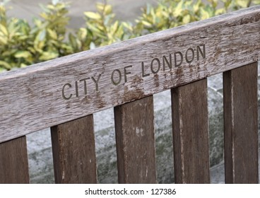 Wooden bench in City of London