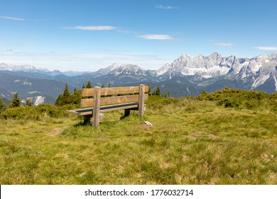 Wooden bench with the Dachstein range in the background, Styria, Austria, Europe