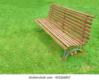 wooden bench in the garden or park