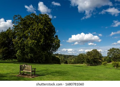 Wooden bench in Great Tew, Oxfordshire, Cotswolds, England.