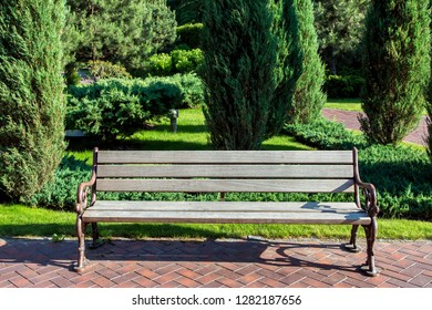 a wooden bench with iron legs in a park with a lawn and evergreen bushes and a thuja tree, a place for sitting in the garden.