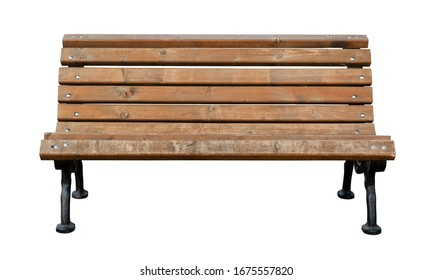 Wooden bench isolated over white background