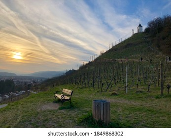 Wooden bench in the middle of vineyards on a small mountain with a little chapel on top shown at a warm autumn day
