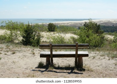 Wooden bench at Nida beach, Lithuania