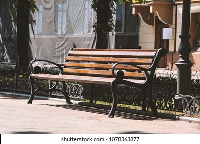 Wooden bench on the street