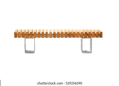 Wooden bench on a white background. Isolated