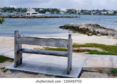 Wooden Bench overlooking a Bahama Beach
