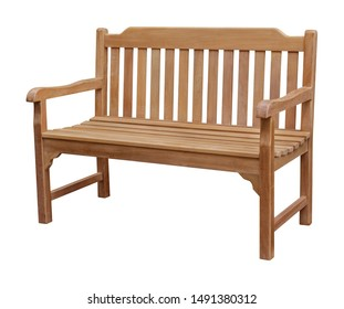Wooden bench park furniture isolated on white background.