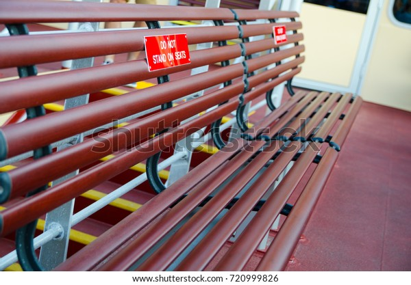 Admirable Wooden Bench Seat On Boat Ferry Stock Photo Edit Now 720999826 Evergreenethics Interior Chair Design Evergreenethicsorg