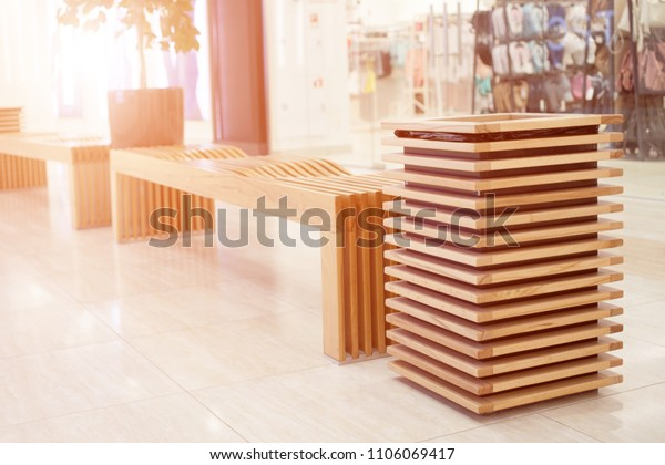 Astounding Wooden Bench Trash Can Shopping Mall Stock Photo Edit Now Ibusinesslaw Wood Chair Design Ideas Ibusinesslaworg