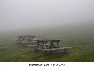 Wooden benches and grass field in fog. The image is captured in the mountain called Sis of Trabzon city located in Black Sea region of Turkey.