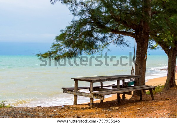Wooden Benches Table By Sea Cloudy Stock Photo (Edit Now) 739955146