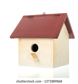 Wooden bird box isolated over white background