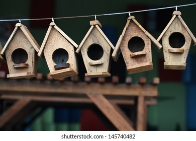 wooden bird house.