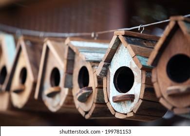 wooden bird house.