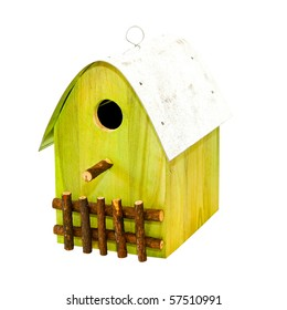 Wooden bird house isolated included clipping path