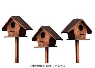wooden bird house isolated on white background