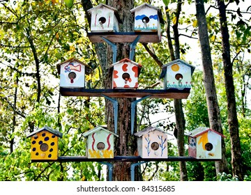 The Wooden of birdhouse family on tree