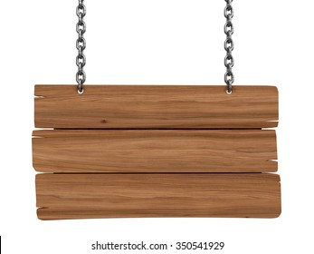 Wooden Blackboard hanging on chains  (clipping path included)