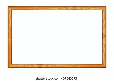 Wooden blank photo frame on white background