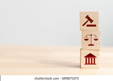 Wooden block cube shape with icon law legal justice - Shutterstock ID 1898071075