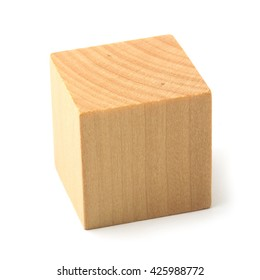 Wooden block is isolated on the white background.