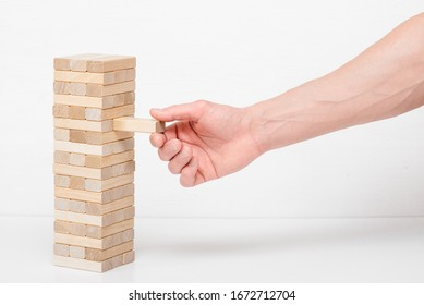 Wooden block on white background.