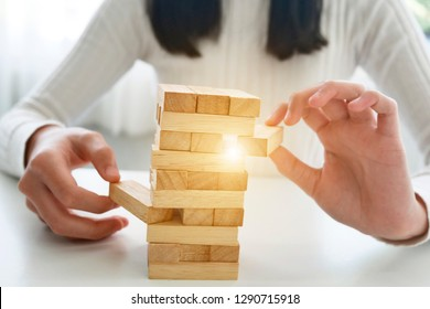 wooden block Planning, risk and strategy of project management in business, with hand pull wood block