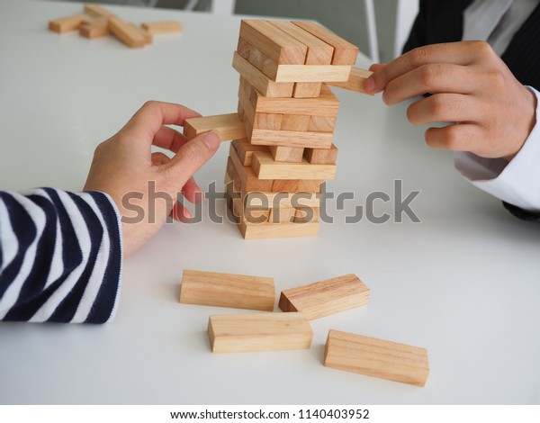 Wooden Block Planning Risk Strategy Project Stock Photo Edit Now