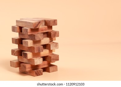 Wooden block stacking, Financial and Business growth concept using as background
