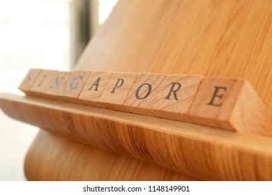 Wooden Block Text of Singapore