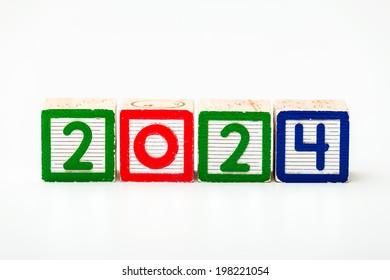 Wooden block for year 2024