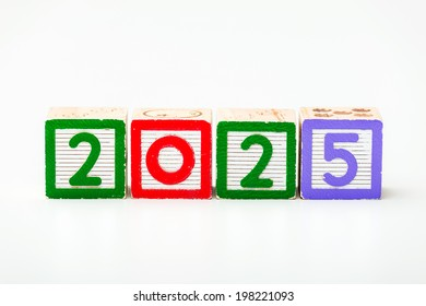 Wooden block for year 2025