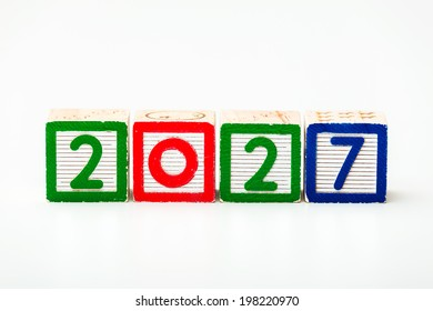 Wooden block for year 2027