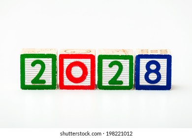 Wooden block for year 2028
