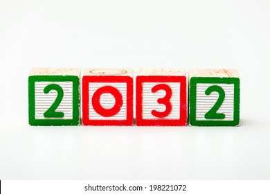 Wooden block for year 2032