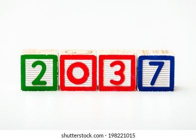 Wooden block for year 2037