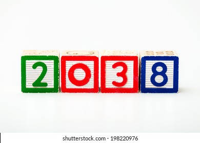 Wooden block for year 2038