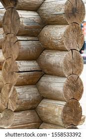 wooden blockhouse. wooden logs. log wall. logs corner. light wooden wall. environmentally friendly house.  wood fibers. log cut. rustic wooden cabin. tree knots. hardwood. copy space