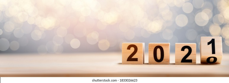 Wooden Blocks With 2020 2021 Number On Table