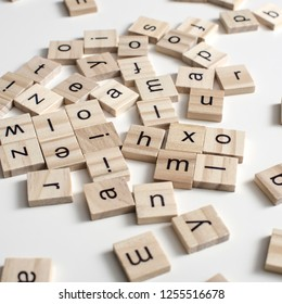 Wooden blocks alphabet on the wooden table.Close up